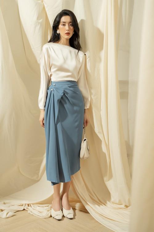 Sixdo Dark Blue Midi Silk Skirt